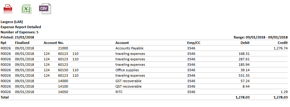 Advataxes Client chart of accounts